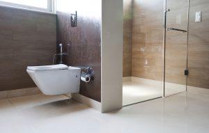 White bathroom in a modern apartment or home